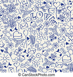 Seamless doodles - Seamless pattern of doodles on a notebook...