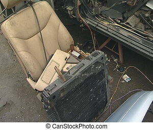 Seat, radiator, body, tyre and many other car parts. Car...