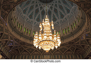 Beautiful chandelier of the Sultan Qaboos Grand Mosque in...