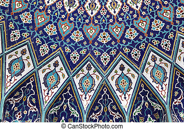 Oriental mosaic inside of the Grand Mosque, Muscat Sultanate...