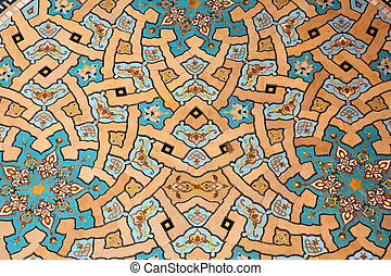 Beautiful mosaic inside of the Sultan Qaboos Grand Mosque in...