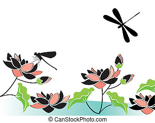 dragonflies and flowers -  ilustration