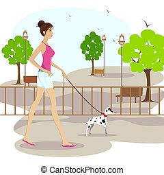Lady walking with pet dog