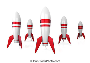Rockets - 3D rendered Illustration. Isolated on white.