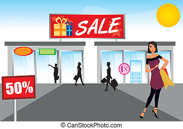 woman shopping over mall with sky background. illustration