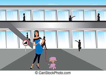 woman with dog over shopping center background illustrator