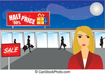 woman shopping night over mall background illustration