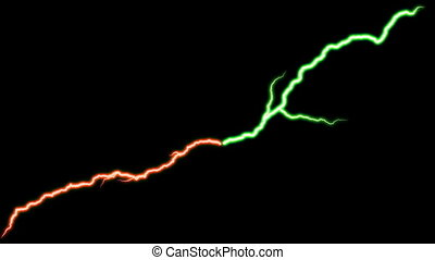 lightning bolt red and green - two bolts of lightning in...