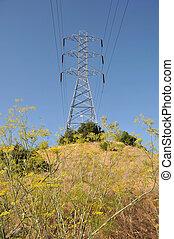 Electrical transmission tower on hill