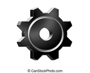 black gear isolated over white background. illustration