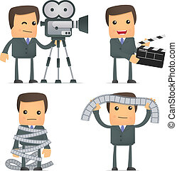 funny cartoon businessman and cinema - set of funny cartoon...