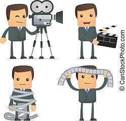 divertido, caricatura, hombre de negocios, cine