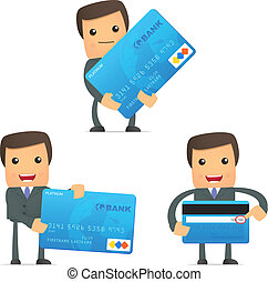 funny cartoon businessman with credit card