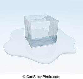melting ice cube in a puddle of water