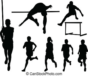 Athletics silhouette collection - illustration of athletics...