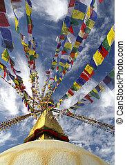 Buddhist Stupa At Kathmandu - Sacred stupa with Buddhas eyes...