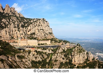View of the Montserrat monastery from the top