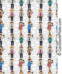 funny cartoon office worker talk with Microphone and speaker seamless pattern