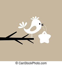 Bird on a tree - The bird holds the price list in a beak. A...