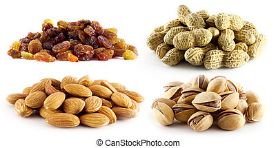 selection of raisins, peanuts, pistachios and almonds on...