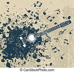 Retro a guitar - Guitar on a retro a background with notes....