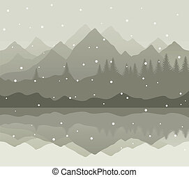 Winter mountains - Snow goes on mountain lake A vector...