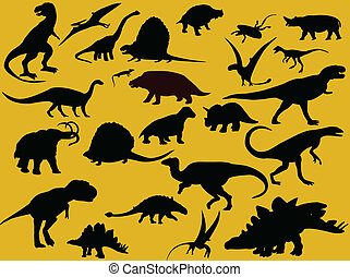 Collection of dinosaurs silhouette - vector