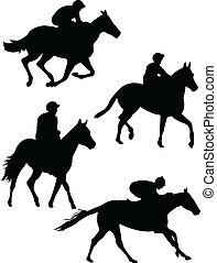 Collection of jockeys silhouette - vector
