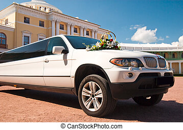 Luxury wedding car in front of The Grand Palace at Pavlovsk,...