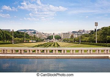 view of Eduardo VII park, Lisbon