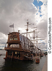 big sailing-ship at the harbor, stpetersburg, russia