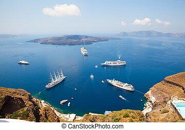 Cruise ships in Santorini, Greece - Cruise ships in Thira,...