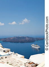 Cruise ship in Santorini, Greece - Cruise ship in Thira,...