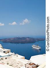 Cruise ship in Santorini, Greece - Cruise ship in Thira,...