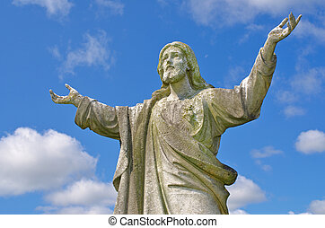 Jesus with outstretched arms to heaven - Pre 1900 stone...