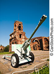 Old battle cannon at Shlisselburg's fortress Oreshek near...