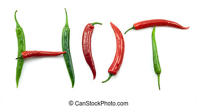 """the word """"HOT"""" with red and green peppers - the word """"HOT""""..."""