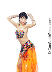 Belly dancer - Lady in opriental costume dancing belly dance