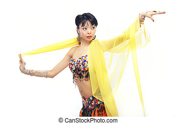 Belly dancer - Asian lady dancing belly-dance with yellow...