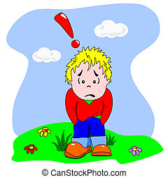 Sad and disappointed cartoon boy - A cartoon vector of a sad...