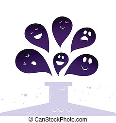Halloween ghost creatures flying around Chimney isolated on...
