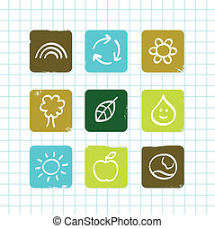 School doodle nature and education icons isolated on white grid