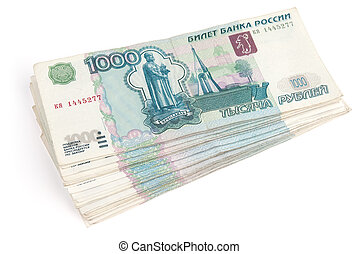 pile of rouble banknotes - Pile of rouble banknotes on a...