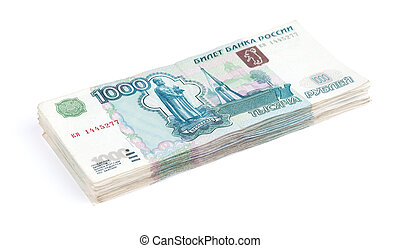 Pile of rouble banknotes on a white background