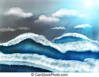 painting showing huge sea waves during the storm.