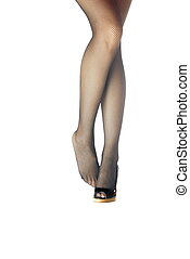 Standing - Photo of the woman legs on a white background...