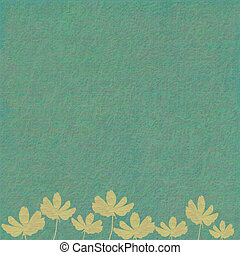 Cream Ribbed Flowers on Blue - Cream Ribbed Flowers on...