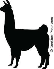 Lama silhouette - vector
