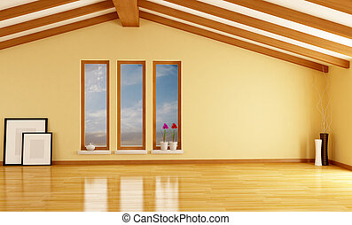 empty attic with wooden beam - rendering- exclusive design -...