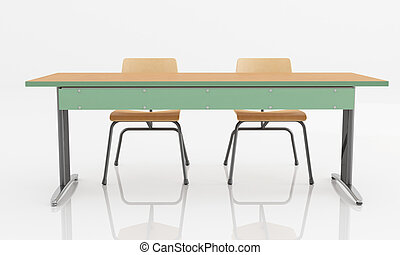 School desk with two seats isolated with reflection -...